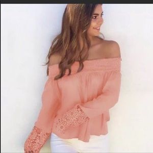 Peach Shoulder Out Halter Blouse